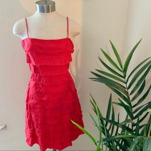 J crew red tiered mini dress